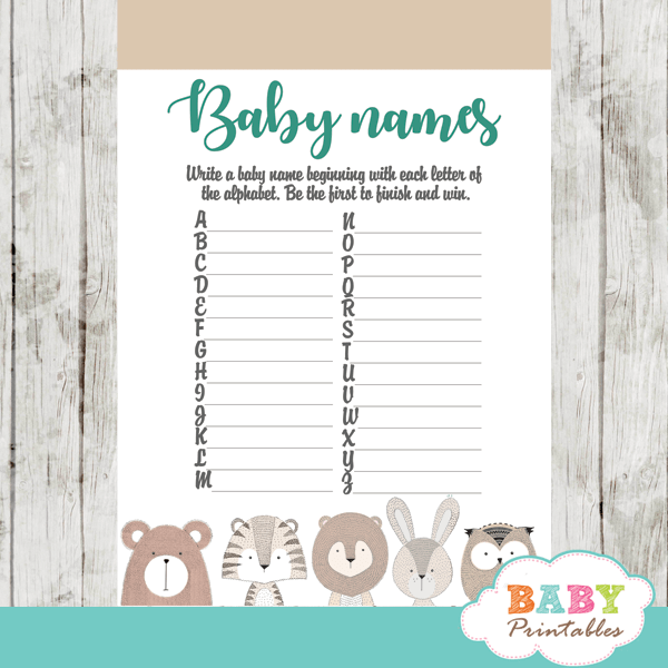 forest animals baby shower games turquoise gray boy