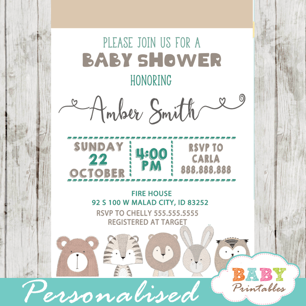 hand drawn forest animals baby shower invitations turquoise blue boy