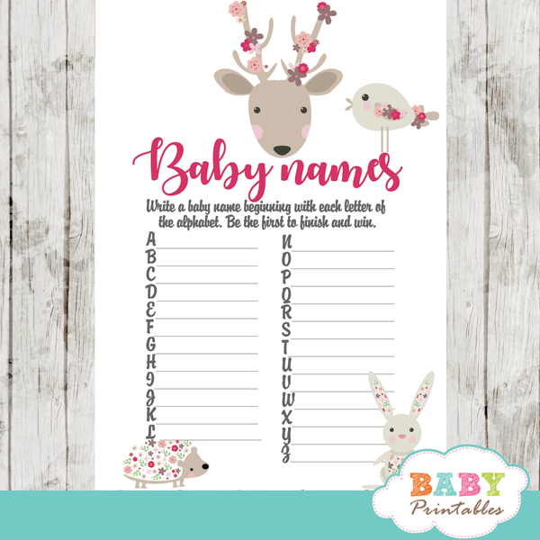 woodland forest animals baby shower games pink floral girl