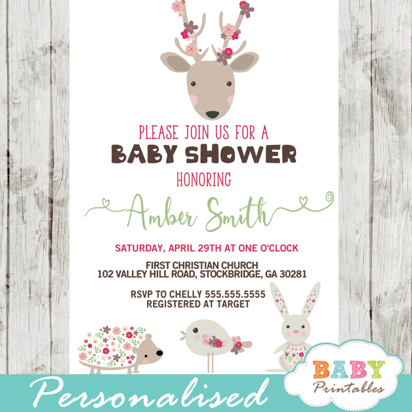 pink floral forest animals baby shower invitations girl flowers