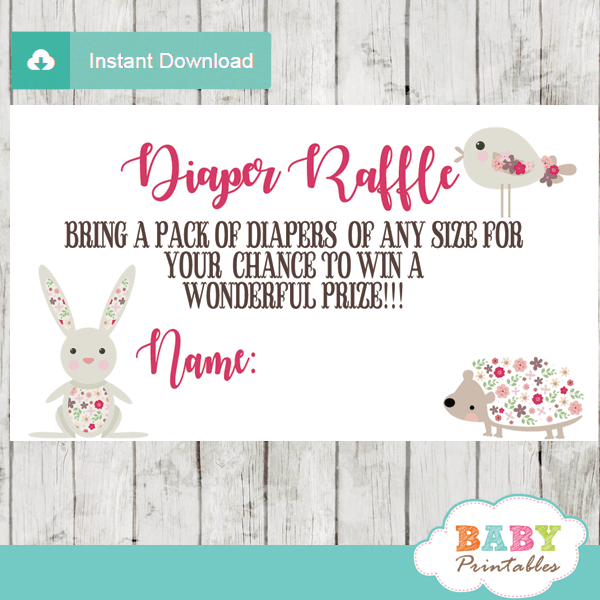 forest animals diaper raffle tickets decorations theme pink flowers girl