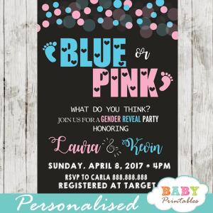 pink or blue baby footprints gender reveal invitations