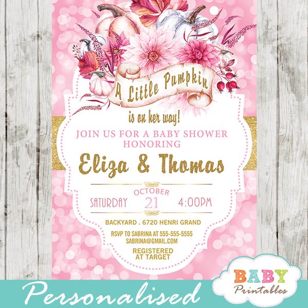 pink bokeh pumpkin baby shower invitations gold glitter ribbon fall invites