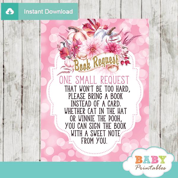 pink fall baby shower little pumpkin book request cards autumn invitation insert