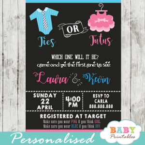 ties or tutus gender reveal invitations pink blue