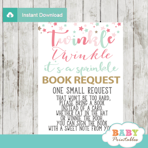 twinkle twinkle little star baby sprinkle book request cards decorations theme pink turquoise gold