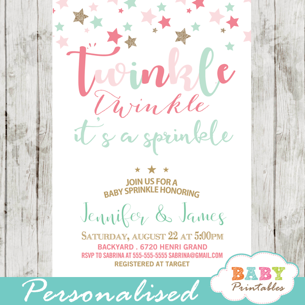 twinkle twinkle it's a sprinkle invitations decorations theme pink turquoise
