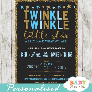 twinkle twinkle little star baby shower invitations decorations theme blue boy