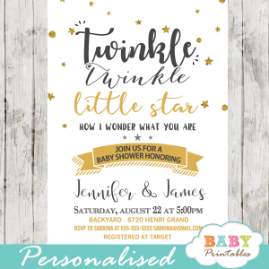 twinkle twinkle little star baby shower invitations decorations theme gender neutral yellow gold