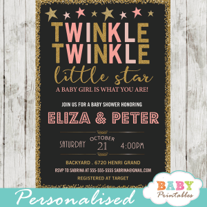 twinkle twinkle little star baby shower invitations decorations theme pink girl