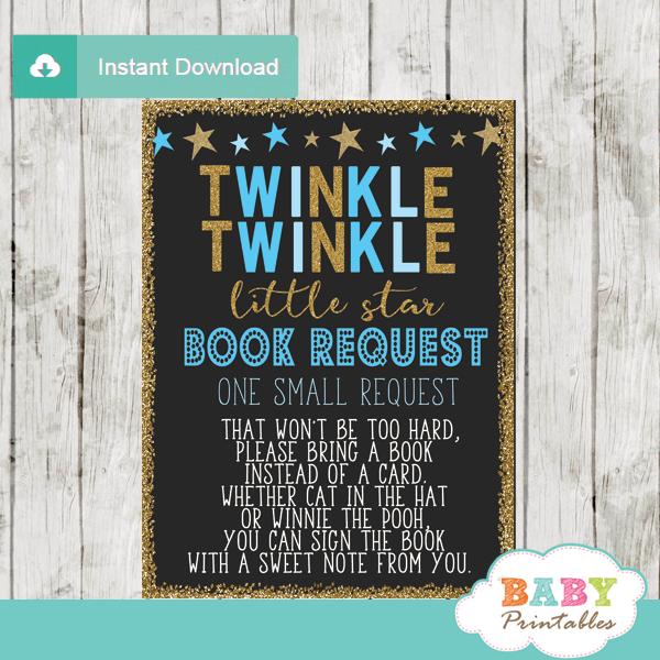 Boy Twinkle Twinkle Little Star Book Request Cards Blue D350