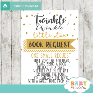twinkle twinkle little star baby shower book request cards decorations theme gender neutral yellow gold