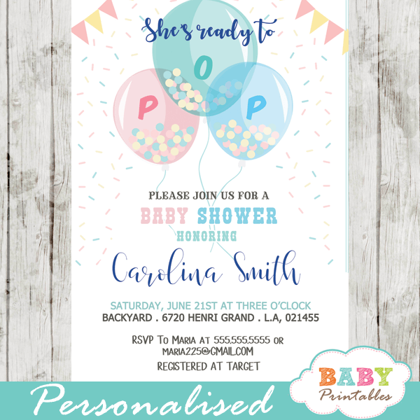ready to pop baby shower invites gender neutral balloons confetti