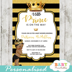 little prince african american baby shower invites black and gold royal crown