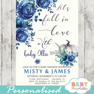 autumn fall in love baby shower invitations floral blue boy