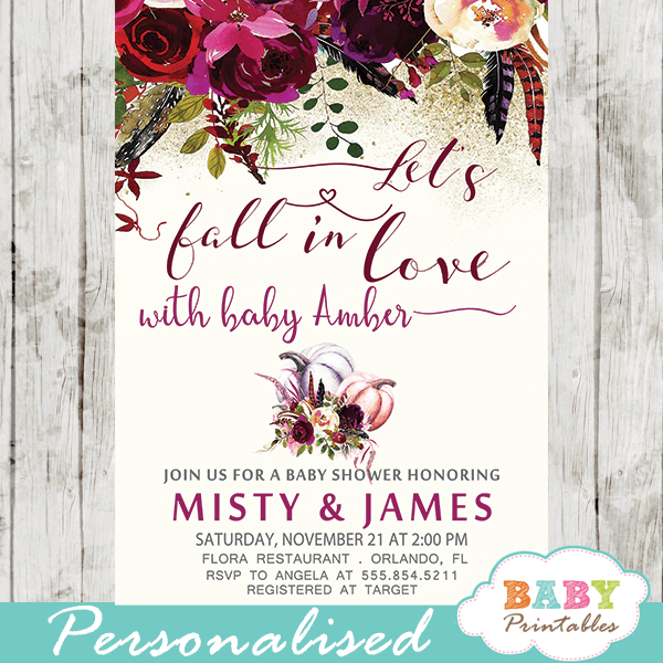autumn fall in love baby shower invitations floral burgundy girl