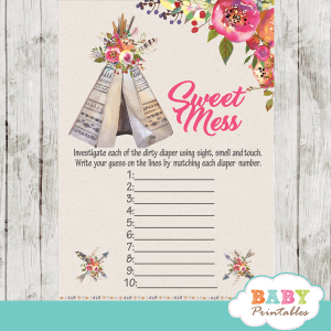 boho tribal teepee baby shower games floral pink girl