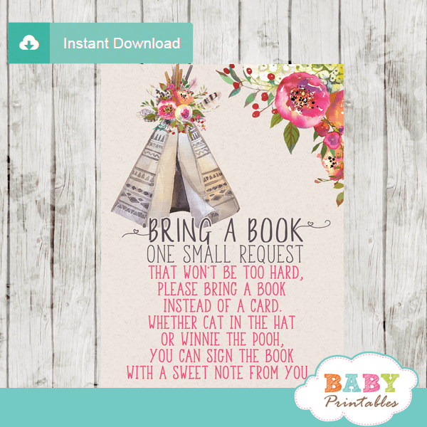 baby girl boho tribal book request cards native teepee
