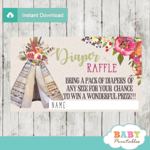 baby girl boho tribal diaper raffle tickets native teepee