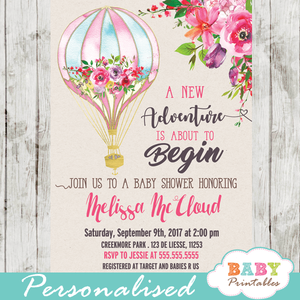 hot air balloon baby shower invitations watercolor elegent pink flowers