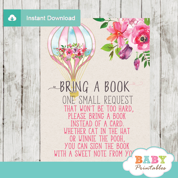 hot air balloon book request cards watercolor flowers elegant pink baby girl