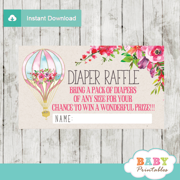watercolor pink floral hot air balloon diaper raffle tickets baby girl