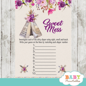 boho tribal teepee baby shower games floral pink and purple girl