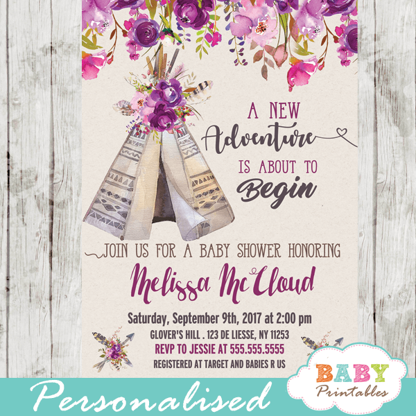 Pinks Custom Baby Shower Invitation Neutral Floral Purples Blues and Gold
