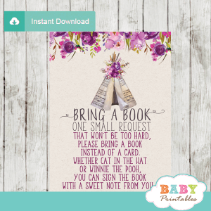 purple pink baby girl boho tribal book request cards native teepee