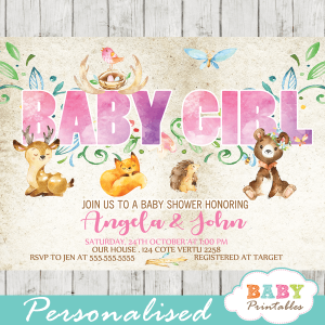 watercolor rustic woodland baby girl shower invitations forest animals pink