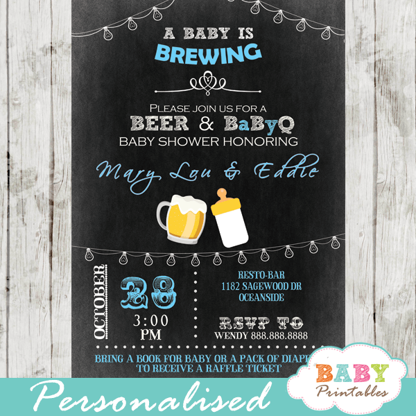 blue boy beer coed bbq baby shower invitations