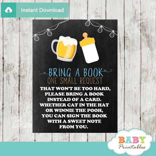 blue boy beer bbq baby shower book request cards