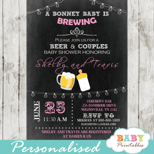 girl pink beer coed bbq baby shower invitations