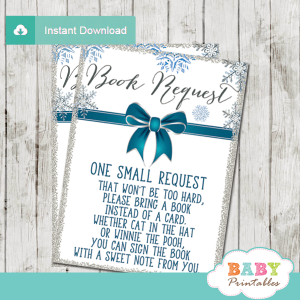 baby it's cold outside book request cards blue silver winter wonderland snowflakes boy blue teal silver gray ribbon bow elegant
