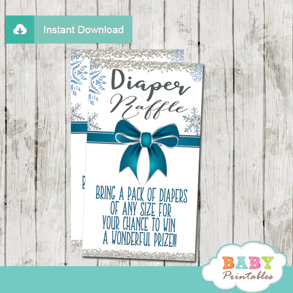 baby it's cold outside diaper raffle tickets winter wonderland baby shower boy silver teal blue ribbon bow