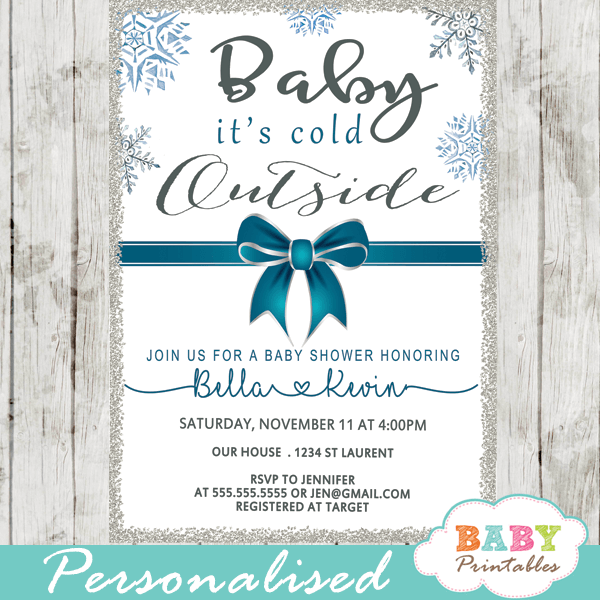 Baby Its Cold Outside Invitations Blue Teal Ribbon Bow Snowflake Silver Winter Wonderland Boy Shower