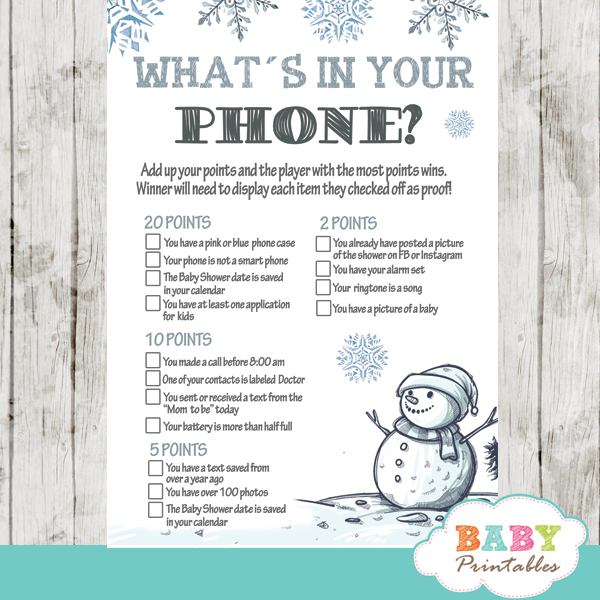 baby it's cold outside baby shower games winter snowman wonderland snowflake boy blue silver