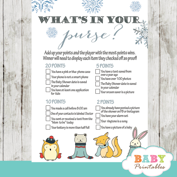 woodland animals baby it's cold outside baby shower games silver blue boy winter wonderland theme