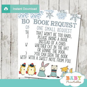 woodland animals baby it's cold outside book request cards blue silver winter wonderland theme boy