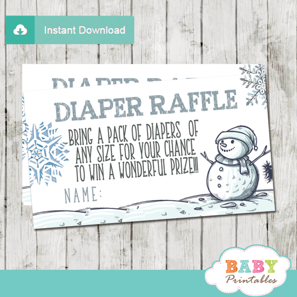 snowman baby it's cold outside diaper raffle tickets winter wonderland boy silver blue