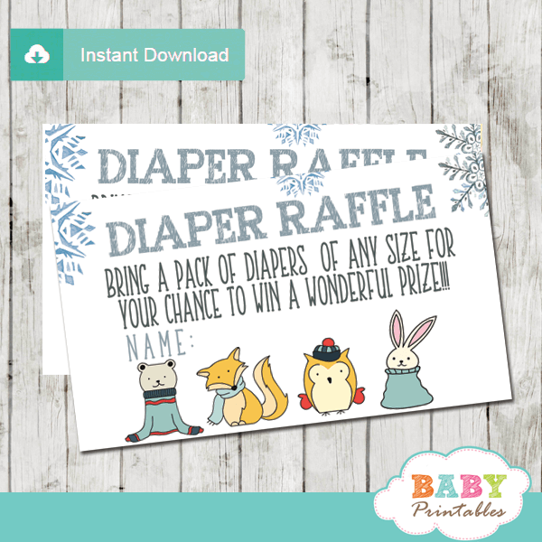 baby it's cold outside diaper raffle tickets winter woodland wonderland boy silver blue