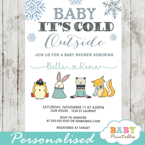 baby it's cold outside shower invitations blue silver winter woodland animals boy