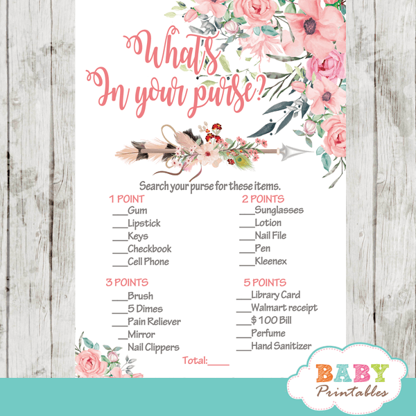 arrow baby shower games tribal boho floral girls pink blush