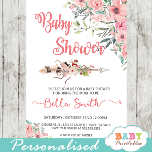 boho floral arrow baby shower invitations girl pink blush tribal pink blush peach