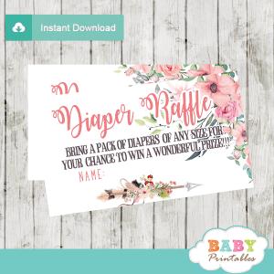 tribal floral boho arrow diaper raffle tickets girl pink blush green feather
