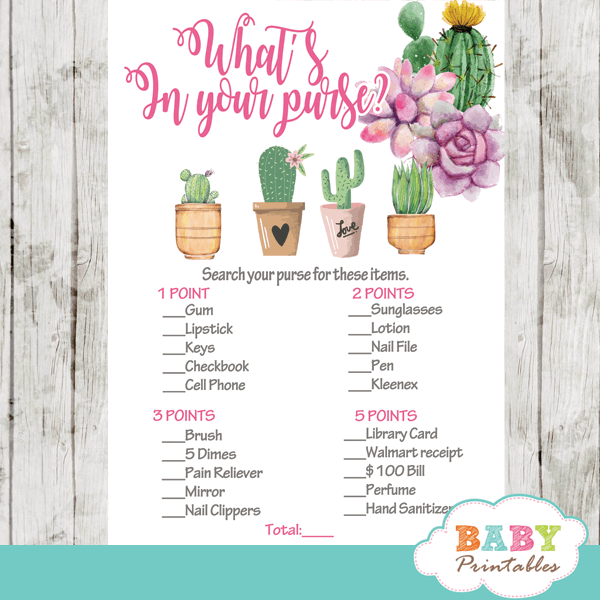 cactus baby shower games succulent plants girl desert theme