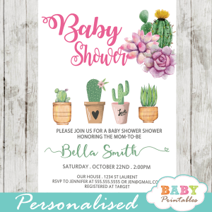 cactus baby shower invites succulent favors girl desert theme
