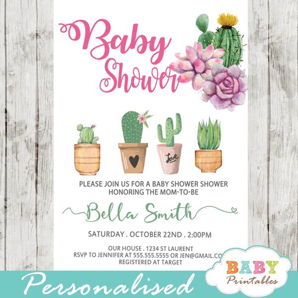 cactus baby shower invites succulent favors girl desert theme