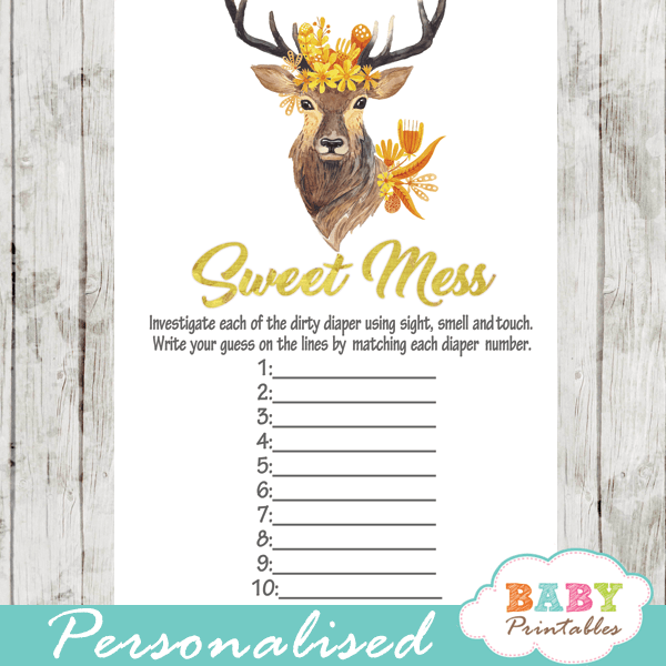 autumn floral gold yellow deer baby shower games