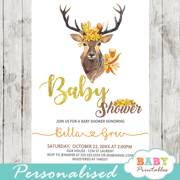 gender neutral fall mums golden yellow baby shower invitations with deer